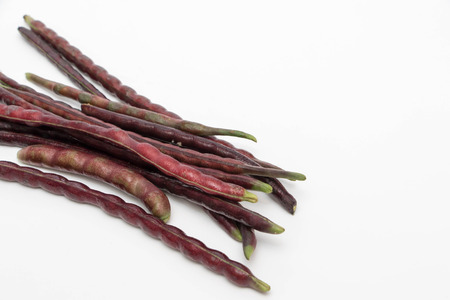 Fresh yardlong red bean on a white background , Vigna unguiculata subsp. Sesquipedalis