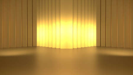 Golden podium and golden curtain with gold light on the stage 3D rendering