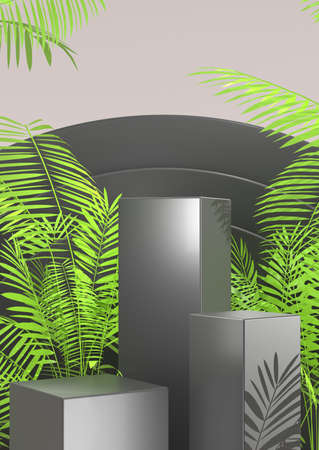 3D rendering. Pedestal display on dark background cylinder stand concept. Blank product With leaves