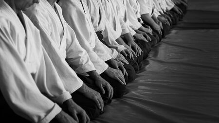 Black and white image of aikido. Men are sporsmen. Aikido workshop. A number of black belt practitioners in traditional uniform, white kimano and black hakama. Reklamní fotografie