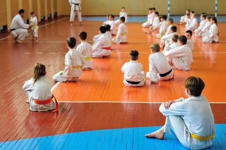 International seminar on traditional karate-do. Kids training. Banner with space for text. For web pages or advertising printing. Photo without faces, from the back. Banco de Imagens