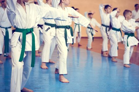 Kids training on karate-do. Young athletes in traditionally white kimonos with colored belts. Banner with space for text. Retro style. For web pages or advertising printing. Photo without faces. Banco de Imagens