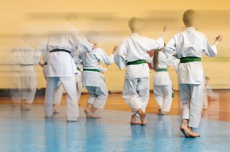Martial arts art. Colored background with elements of movement and blur on the topic of children in karate. Without faces. For web design and printing.