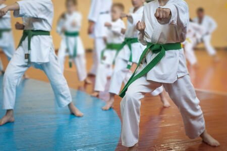 Kids training on karate-do. Banner with space for text. For web pages or advertising printing. photo without faces. Banco de Imagens