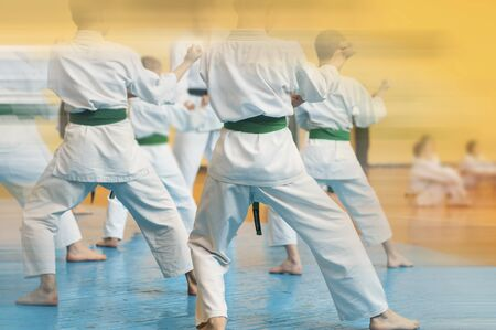 Kids training on karate-do. Banner with space for text. For web pages or advertising printing. Photo without faces.