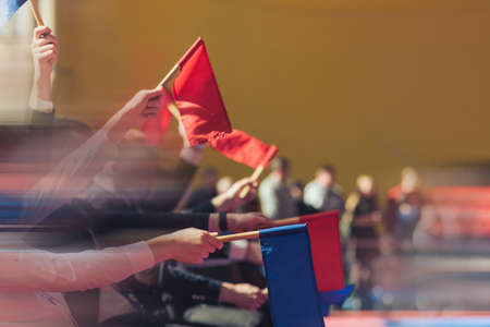 Judges with red and white flags in contact martial arts competitions. Sports lifestyle. Added motion blur to enhance the presence effect.