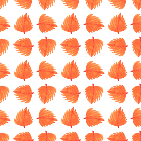 Watercolor seamless pattern. Autumn collection (hand painting leaves)