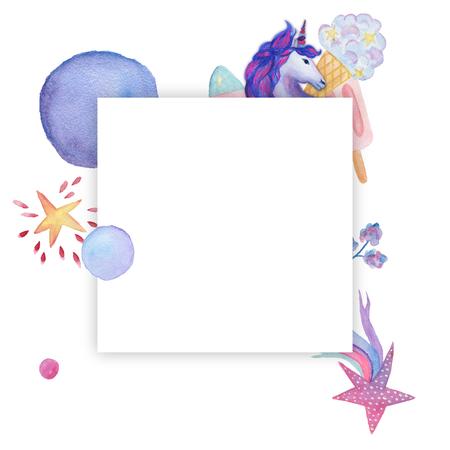 花輪、フレーム。水彩のオブジェクト。パーティーの装飾、ユニコーン コレクション
