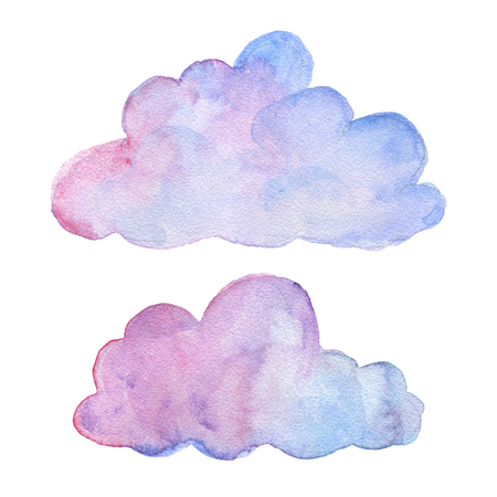 Clouds. Watercolor objects. Party decoration set