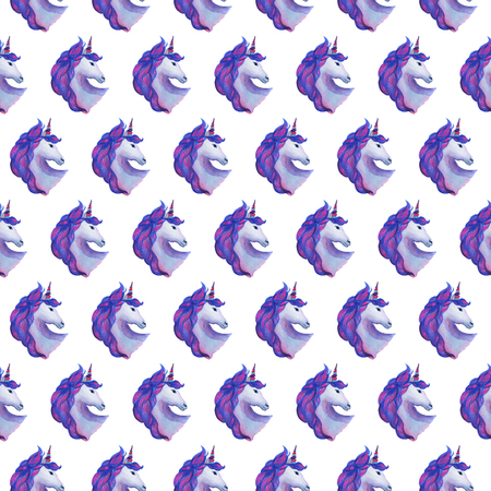 Unicorn collection. Watercolor seamless pattern. Party decoration