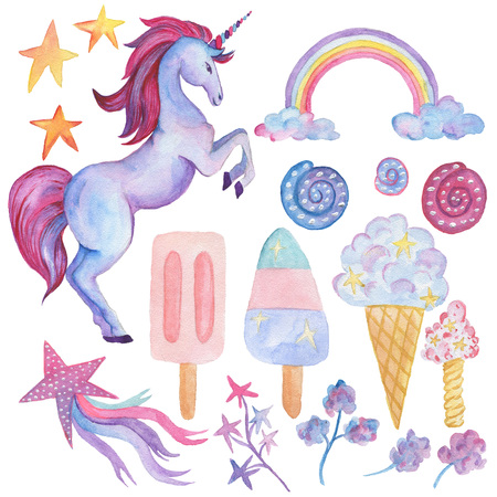 Unicorn collection. Watercolor objects. Party decoration set Фото со стока - 88281206