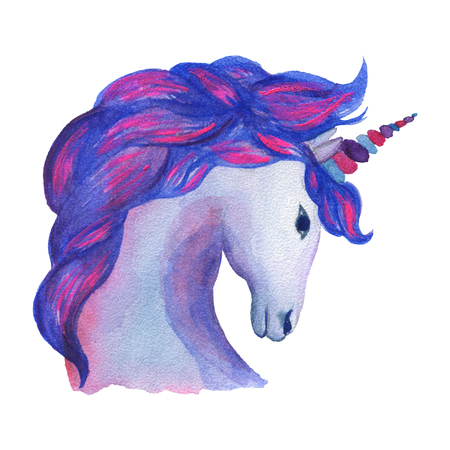 Unicorn. Watercolor object. Party decoration Фото со стока