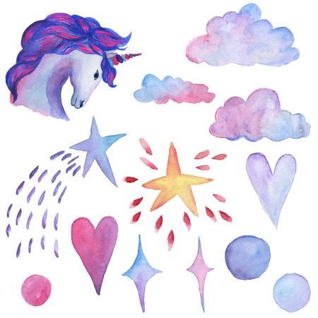 Unicorn collection. Watercolor objects. Party decoration set Фото со стока