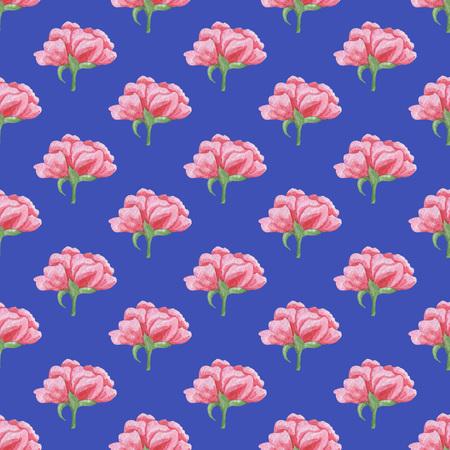 青い背景にシームレスなピンクのピオニーパターン。水彩画の赤ちゃん少女コレクション。 写真素材