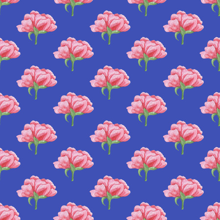 Seamless Pink Peonies Pattern on Blue Background. Watercolor Baby Girl collection.