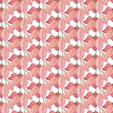 シームレスな赤い葉のパターン。水彩画の赤ちゃん少女コレクション。
