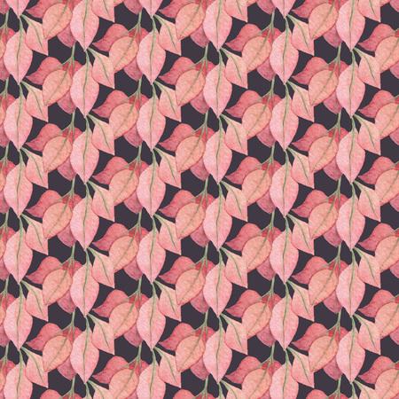 暗い背景にシームレスな赤い葉のパターン。水彩画の赤ちゃん少女コレクション。