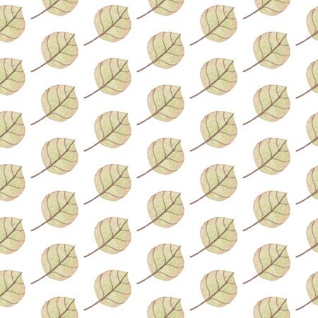 シームレスな黄色の緑の葉パターン。水彩画の赤ちゃん少女コレクション。