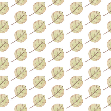 Seamless Yellow Green Leaves pattern. Watercolor Baby Girl collection.