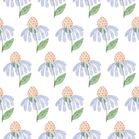 シームレスなライトブルーの花のパターン。水彩画の赤ちゃん少女コレクション。
