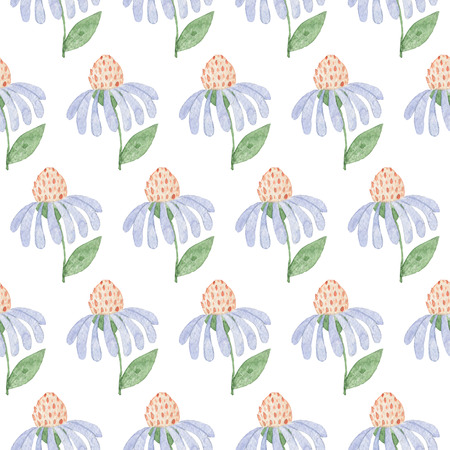 Seamless Light Blue Flowers Pattern. Watercolor Baby Girl collection.