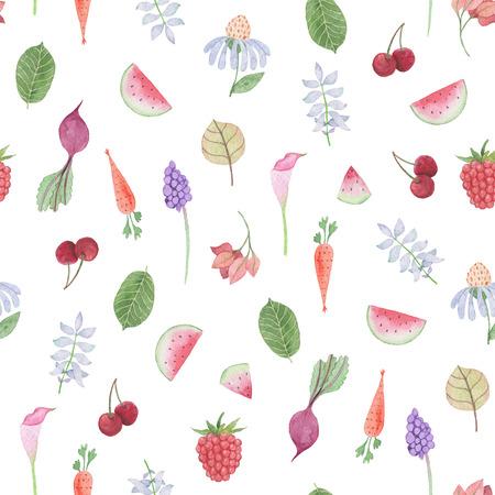 シームレスなパターン:花、葉、野菜や果物。水彩画の赤ちゃん少女コレクション。 写真素材