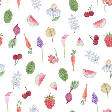 Seamless pattern: flower, leaves, vegetables and fruits. Watercolor Baby Girl collection. Фото со стока - 92208322