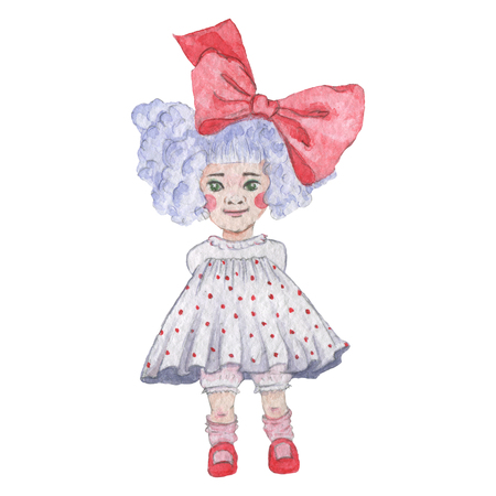 Vintage style watercolor painting - Little Girl. Baby girl with big red bow and lilac hair.