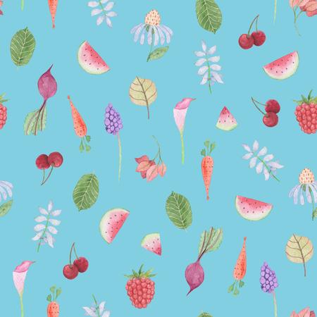 シームレスなパターン:青い背景に花、葉、野菜や果物。水彩画の赤ちゃん少女コレクション。