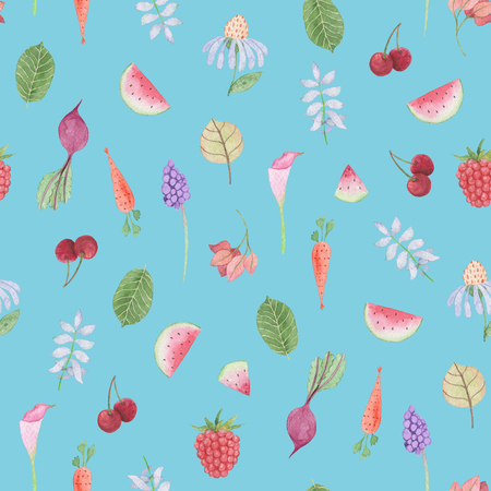Seamless pattern: flower, leaves, vegetables and fruits on blue background. Watercolor Baby Girl collection.