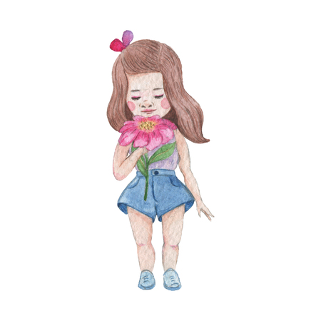 Vintage style watercolor painting - Little Girl. Baby girl with big pink flower and brown hair.
