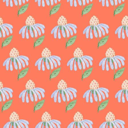 オレンジ色の背景にシームレスな水色の花のパターン。水彩画の赤ちゃん少女コレクション。 写真素材
