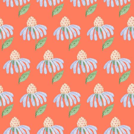 Seamless Light Blue Flowers Pattern on Orange Background. Watercolor Baby Girl collection. Фото со стока
