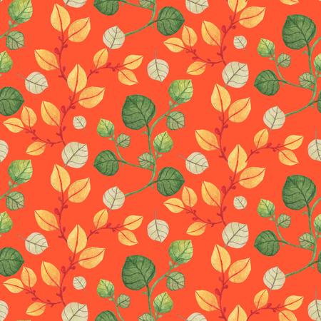 シームレスなオレンジと緑の葉のパターンは、オレンジの背景に。水彩画の赤ちゃん少女コレクション。 写真素材