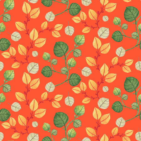 Seamless orange and green leaves pattern on orange background. Watercolor Baby Girl collection. Фото со стока