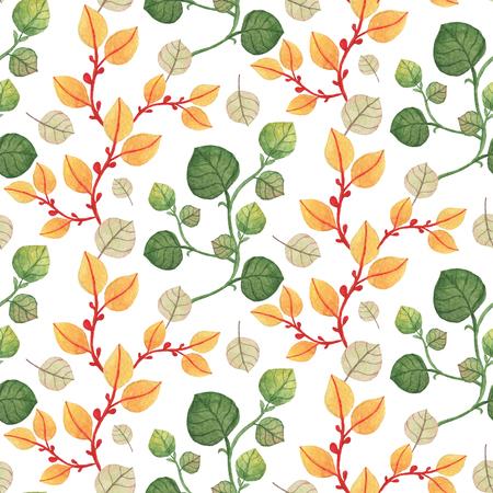 シームレスなオレンジと緑の葉のパターン。水彩画の赤ちゃん少女コレクション。