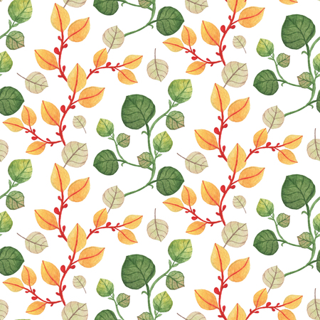 Seamless orange and green leaves pattern. Watercolor Baby Girl collection.