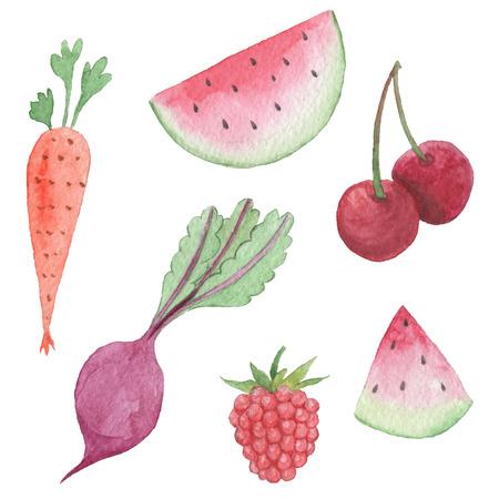 手描きのパック。水彩野菜や果物のオブジェクト