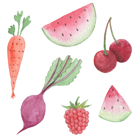 Hand paintings pack. Watercolor vegetable and fruits objects Фото со стока - 92207950
