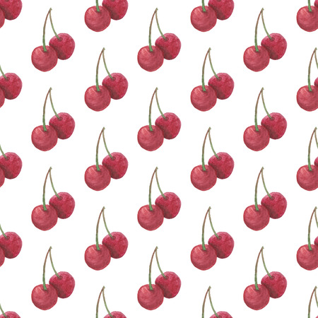 Seamless Red Cherry Pattern. Watercolor Baby Girl collection. Фото со стока - 92194283