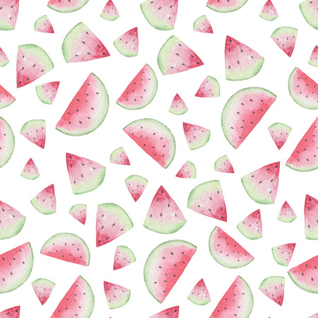 Seamless Watermelon Pattern. Watercolor Baby Girl collection.