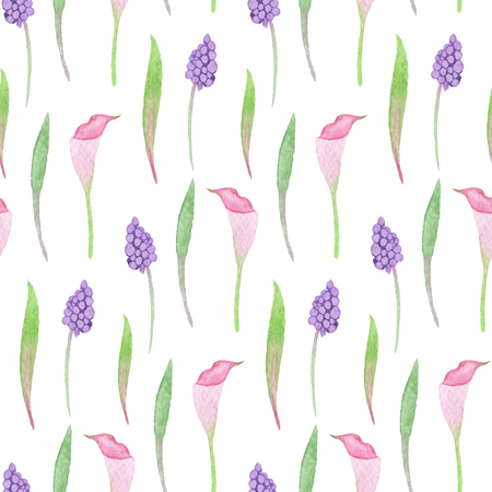 Seamless Pastel Flowers Pattern. Watercolor Baby Girl collection.