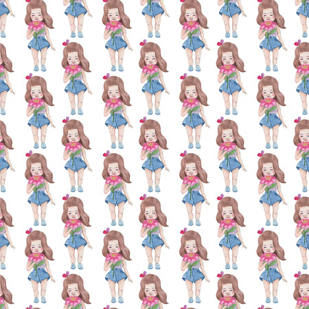 Seamless pattern. Watercolor Baby Girl collection. Фото со стока - 92196770