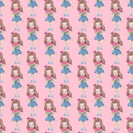 ピンクの背景にシームレスなパターン。水彩画の赤ちゃん少女コレクション。 写真素材