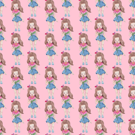 Seamless pattern on pink background. Watercolor Baby Girl collection.