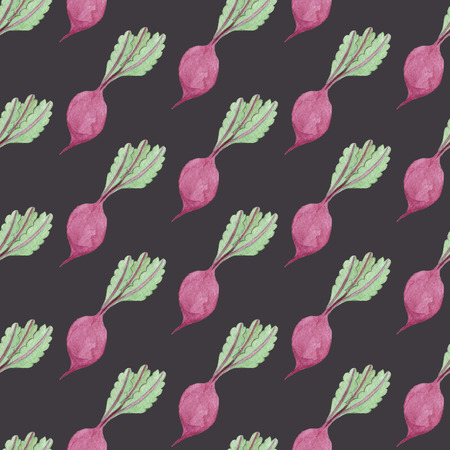 Seamless Beet Pattern on Dark Grey Background. Watercolor Baby Girl collection. Фото со стока - 92194033
