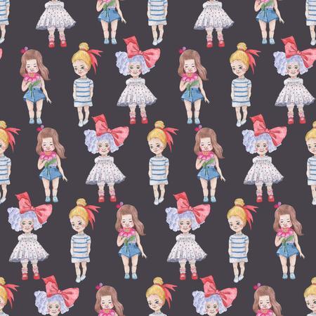 暗い背景にシームレスなパターン。水彩画の赤ちゃん少女コレクション。