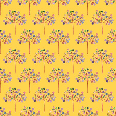 黄色の背景にシームレスな抽象的な花のパターン。水彩画の赤ちゃん少女コレクション。 写真素材