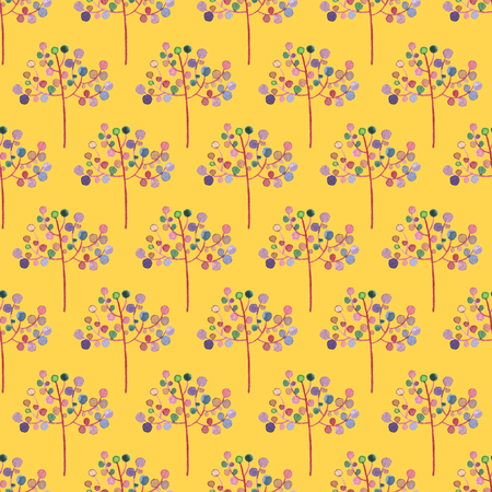 Seamless Abstract Flowers Pattern on Yellow Background. Watercolor Baby Girl collection.