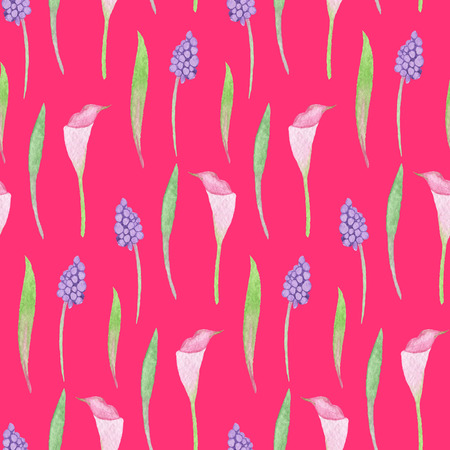 Seamless Pastel Flowers Pattern on Fuchsia Background. Watercolor Baby Girl collection. Фото со стока